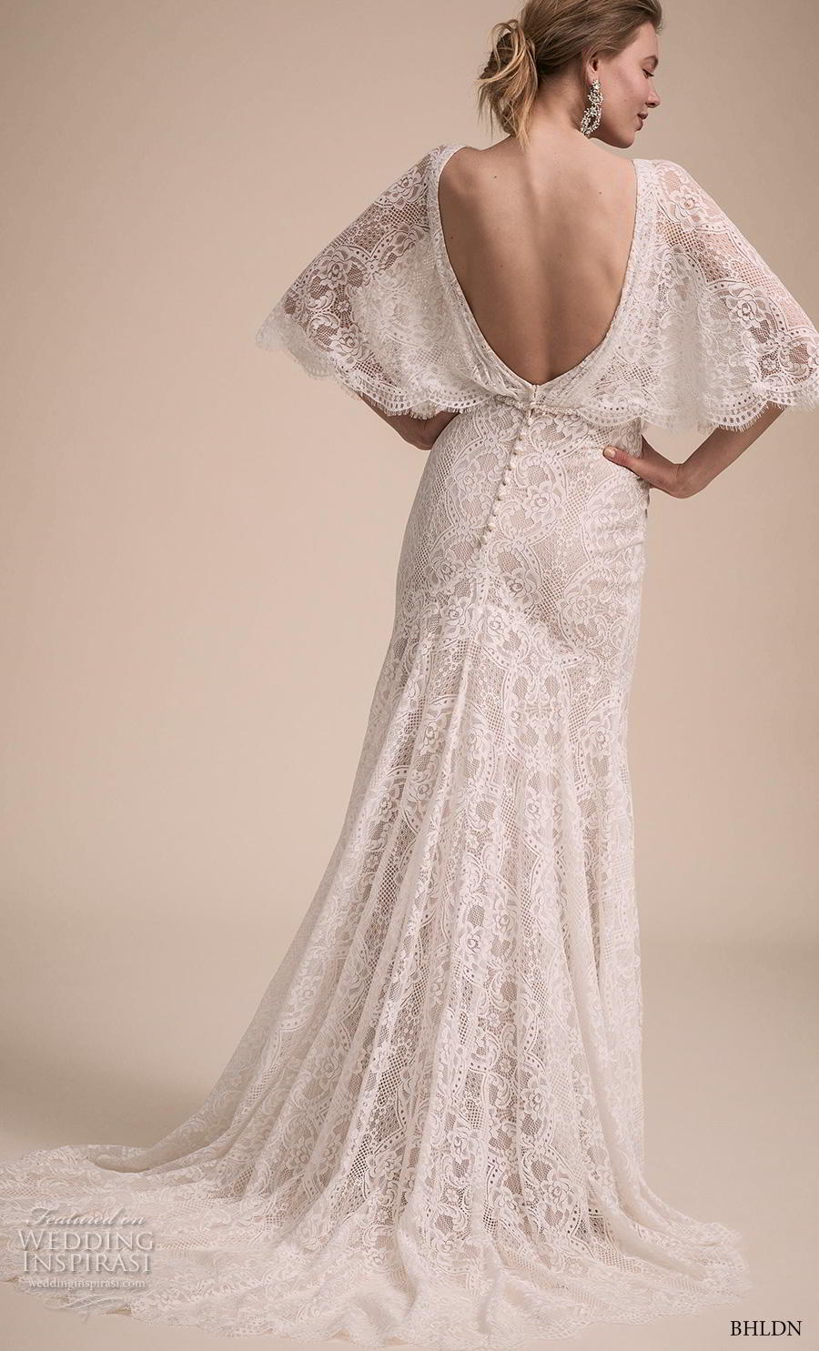 bhldn 2018 own bridal butterfly sleeves v neck full embellishment bohemian vintage sheath column wedding dress backless chapel train (5) bv