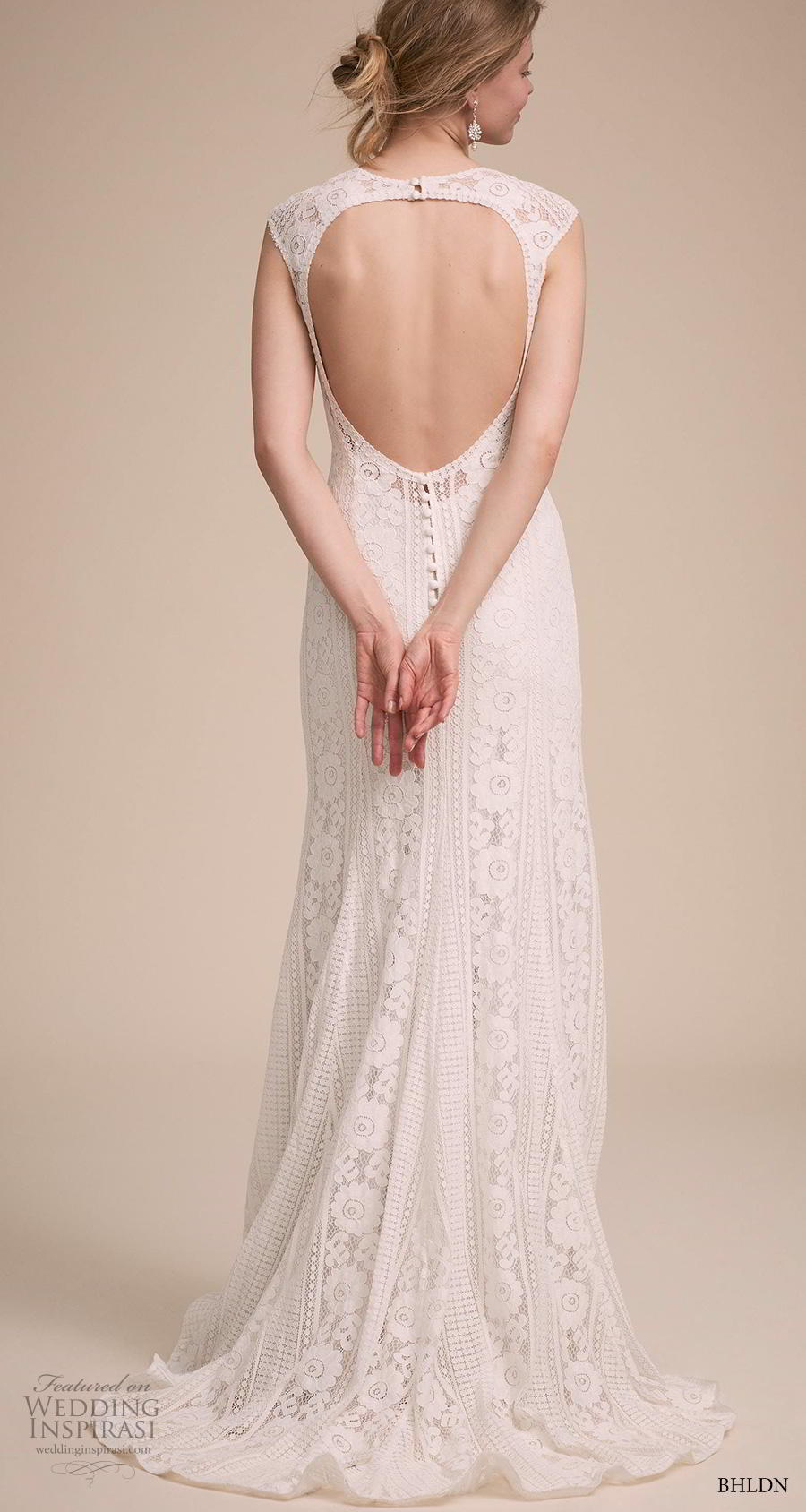 bhldn 2018 own bridal cap sleeves jewel neck full embellishment elegant bohemian modified a  line wedding dress keyhole back sweep train (12) bv