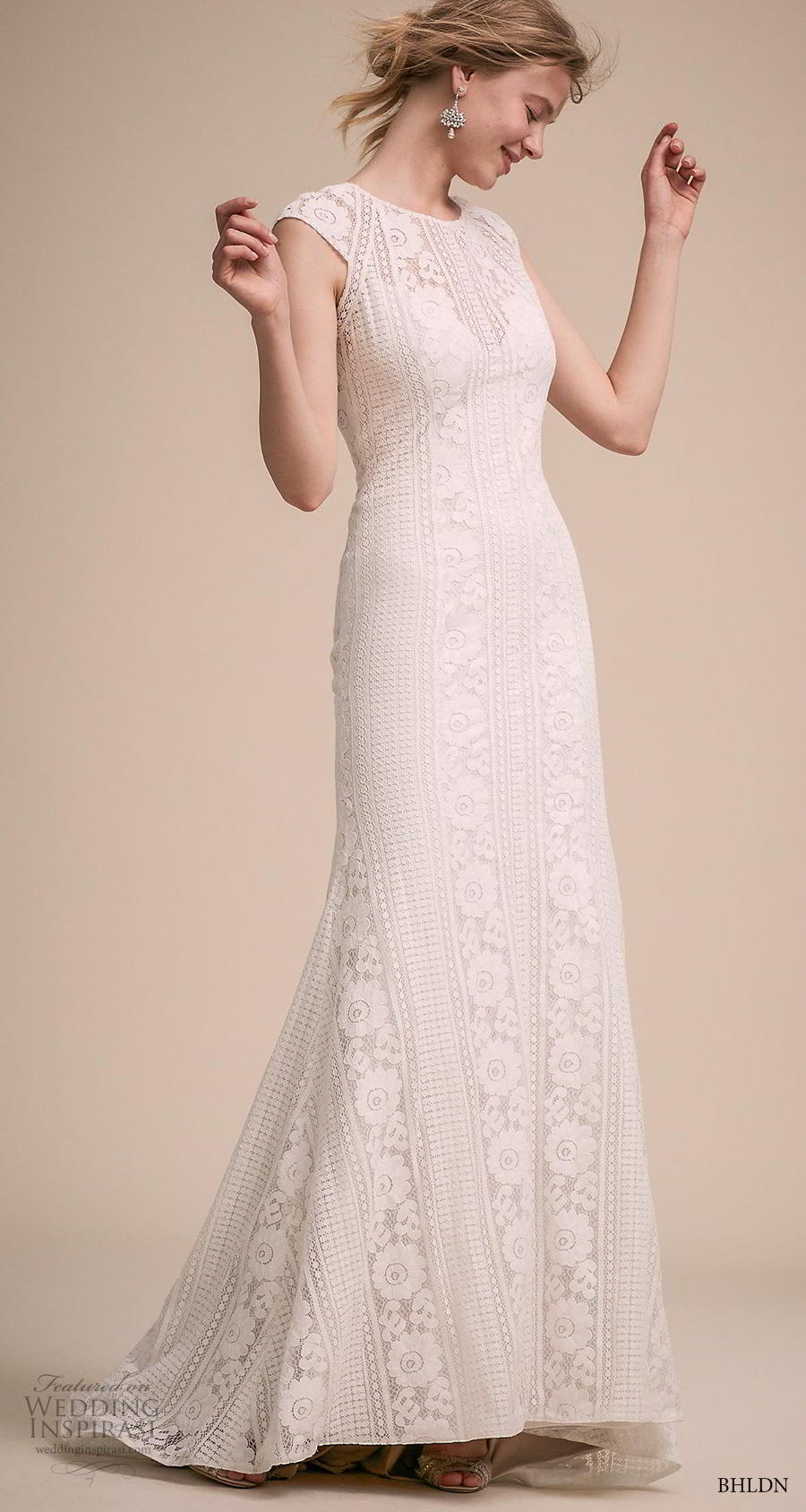 bhldn 2018 own bridal cap sleeves jewel neck full embellishment elegant bohemian modified a  line wedding dress keyhole back sweep train (12) mv