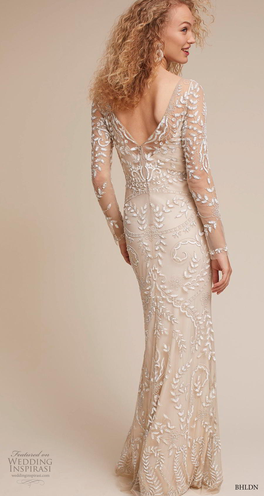 bhldn 2018 own bridal long sleeves bateau neck full embellishment elegant sheath weddomg dress v back sheath train (9) bv