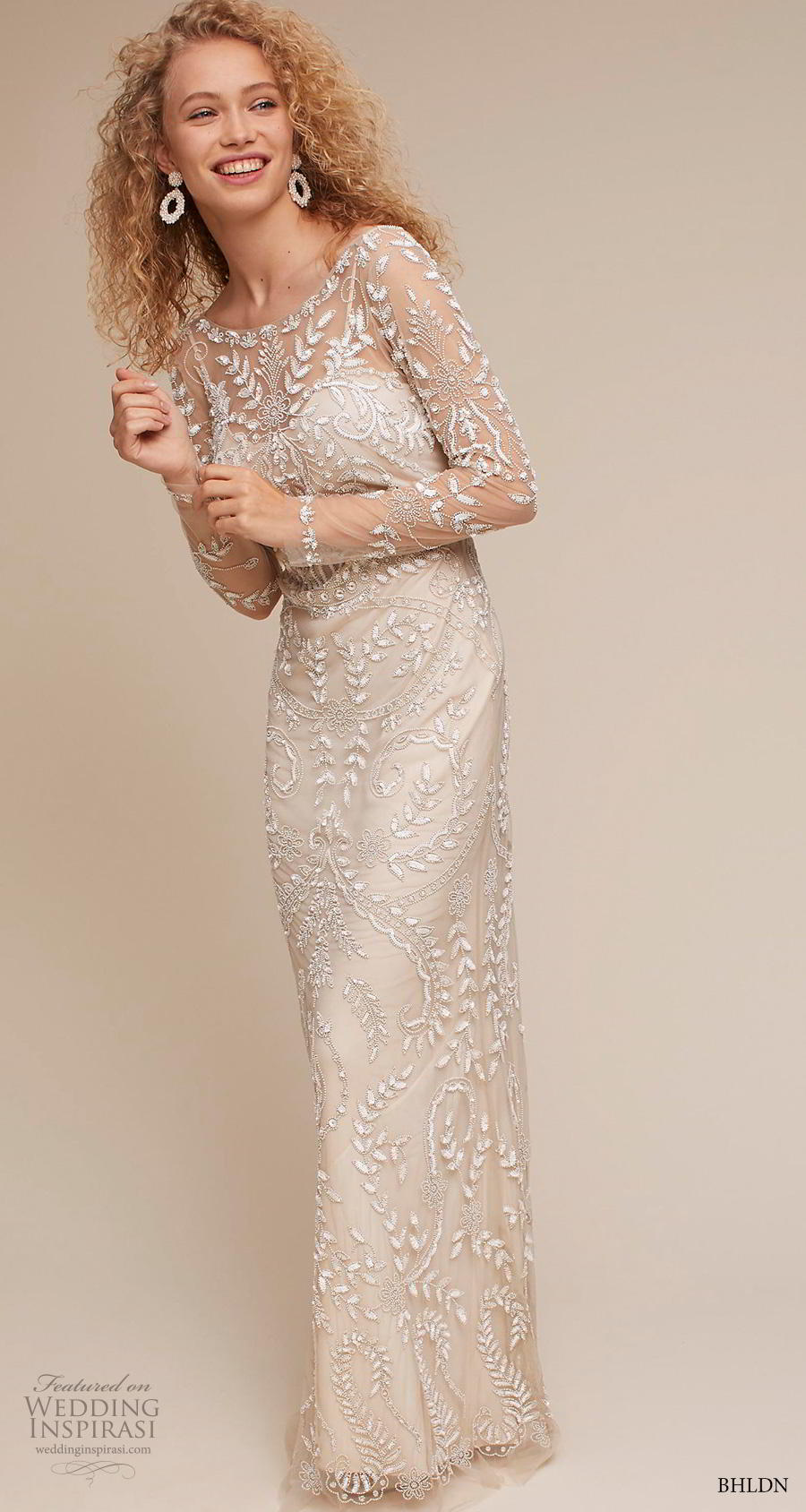 bhldn 2018 own bridal long sleeves bateau neck full embellishment elegant sheath weddomg dress v back sheath train (9) mv