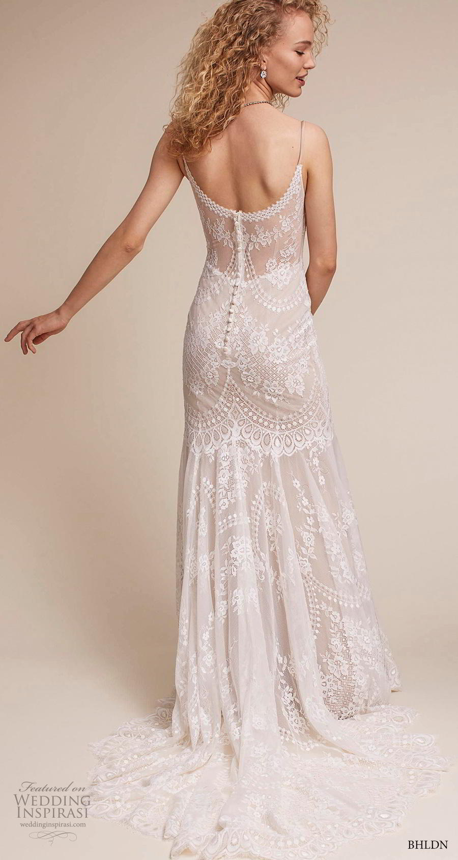 bhldn 2018 own bridal sleeveless thin strap diamond neck full embellishment bohemian vintage column sheath wedding dress mid back short train (7) bv