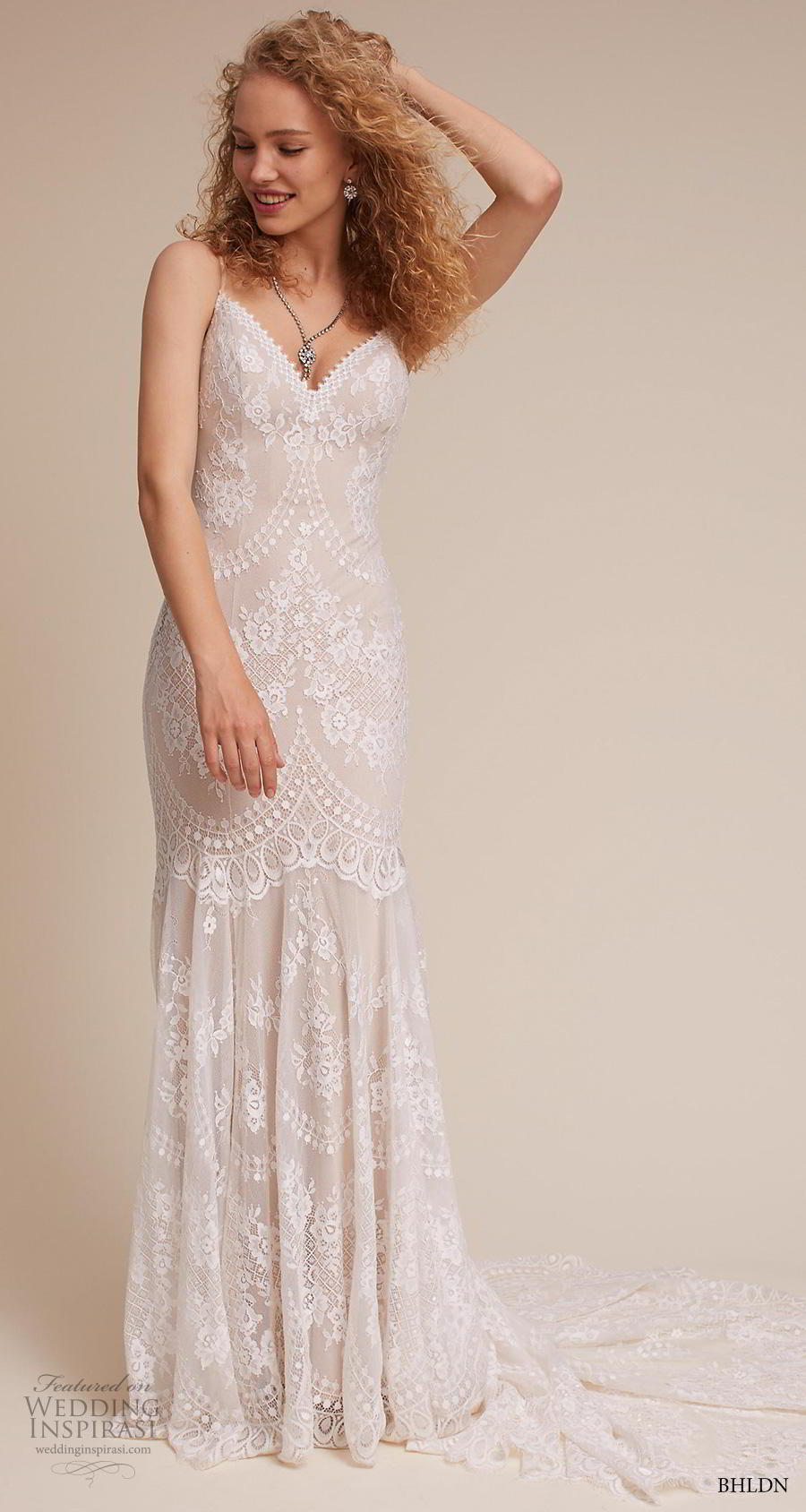 bhldn 2018 own bridal sleeveless thin strap diamond neck full embellishment bohemian vintage column sheath wedding dress mid back short train (7) mv