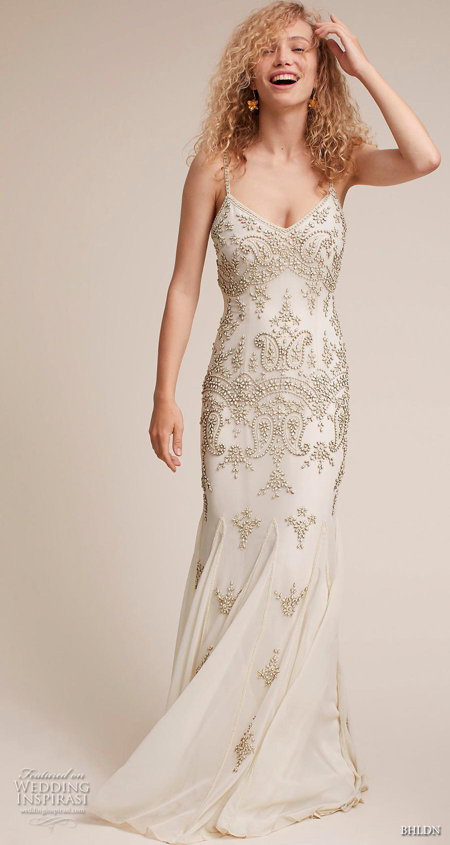 bhldn 2018 own bridal sleeveless thin strap diamond neck full embellishment glitzy art deco elegant sheath wedding dress sweep train (2) mv