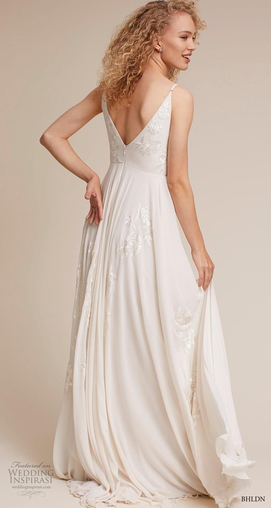 bhldn 2018 own bridal sleeveless thin strap v neck heavily embellished bodice romantic beach soft a  line wedding dress backless v back sweep train (4) bv