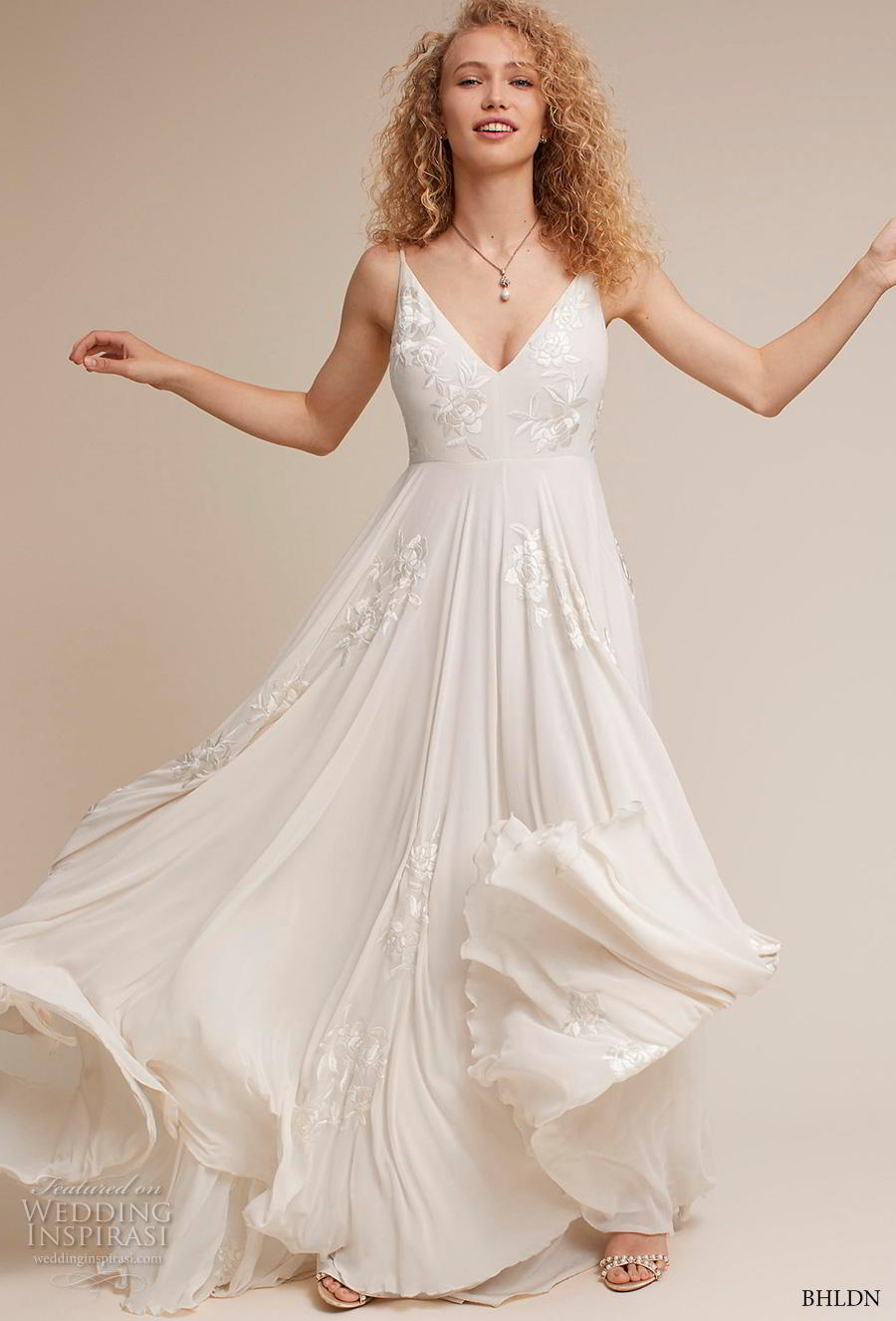bhldn 2018 own bridal sleeveless thin strap v neck heavily embellished bodice romantic beach soft a  line wedding dress backless v back sweep train (4) mv