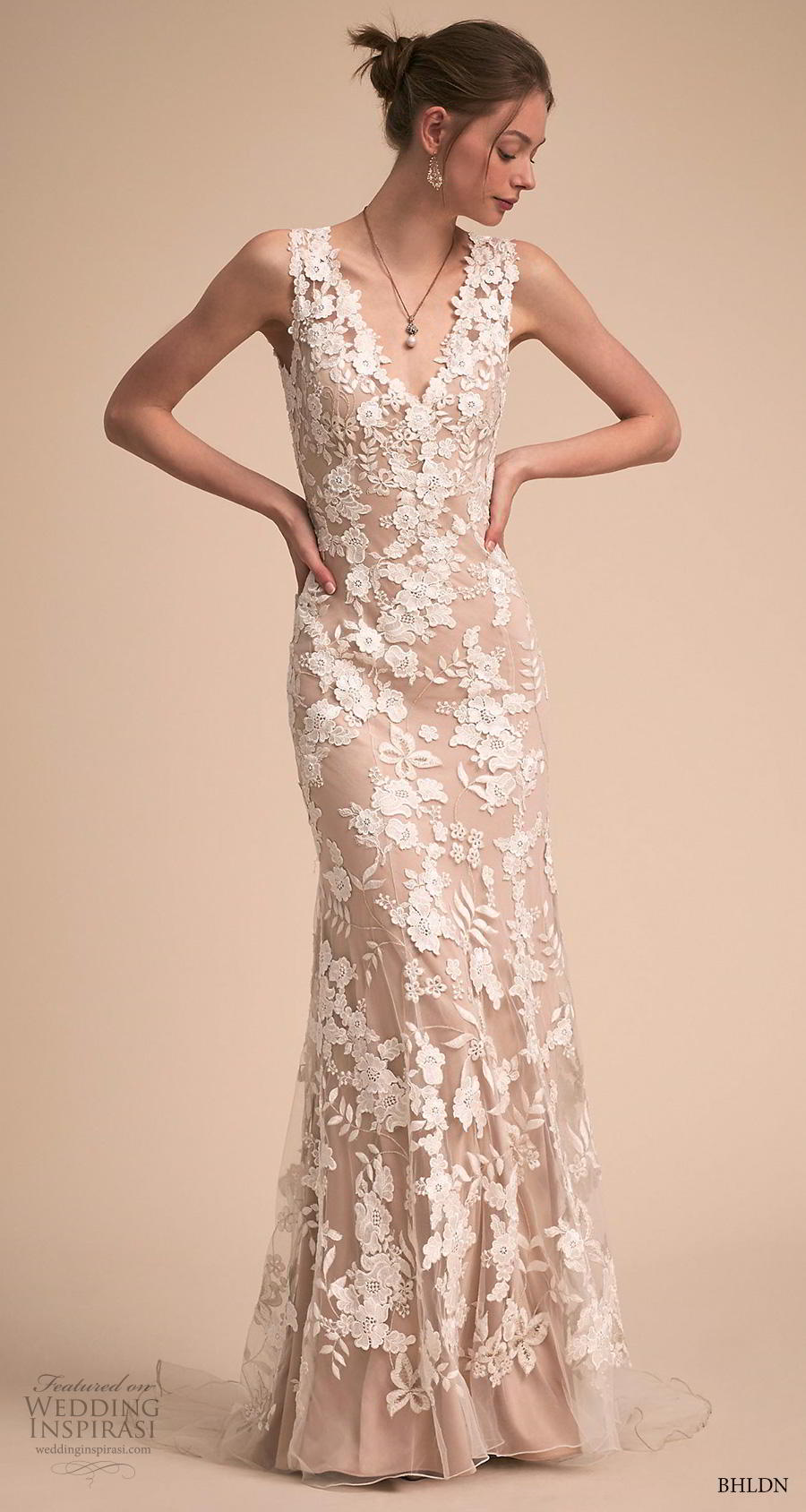 bhldn 2018 own bridal sleeveless v neck full embellishment elegant fit and flare sheath wedding dress backless scoop back short train (15) mv