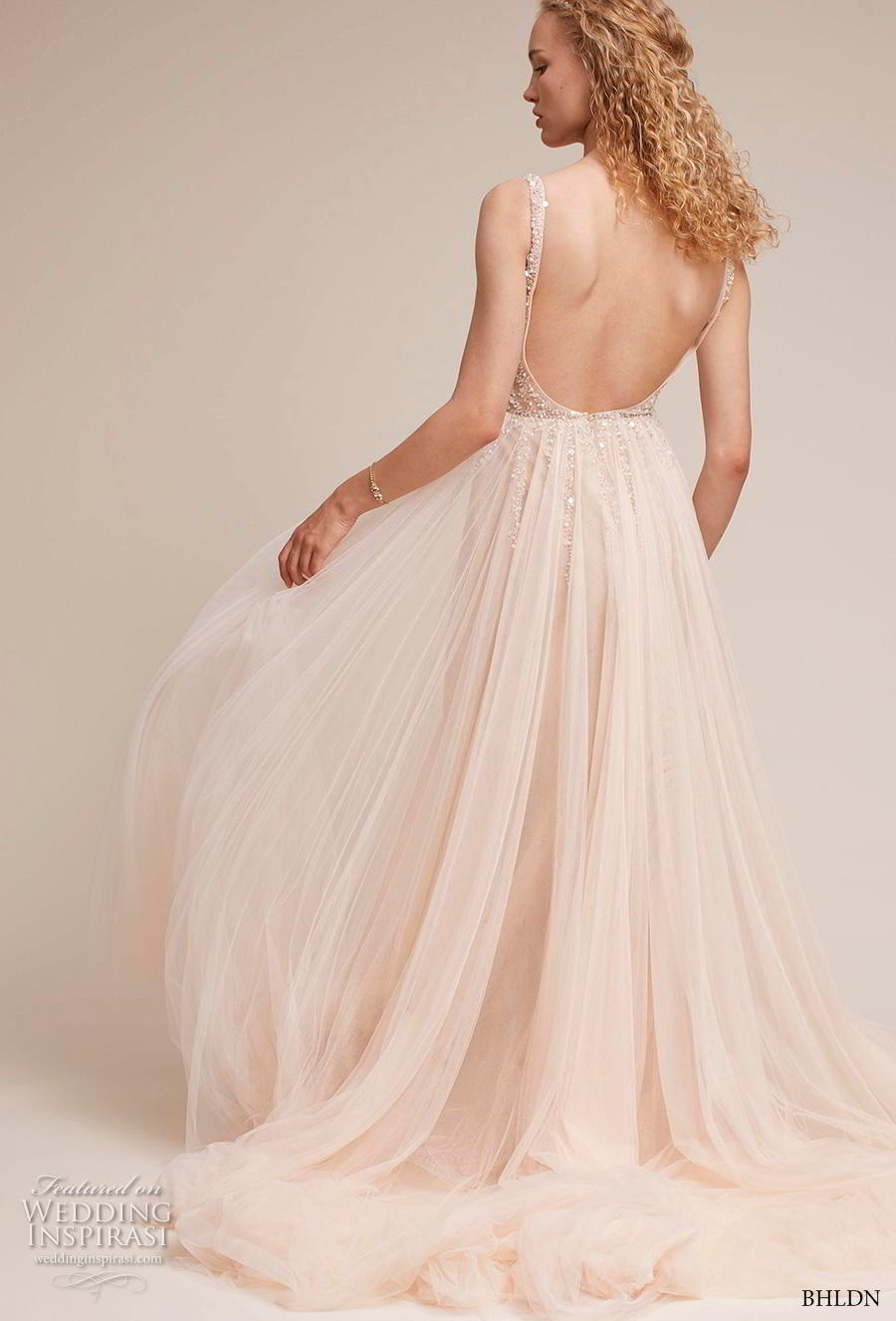 bhldn 2018 own bridal sleeveless v neck heavily embellished bodice tulle skirt glitzy romantic blush soft a  line wedding dress backless scoop back chapel train (6) bv