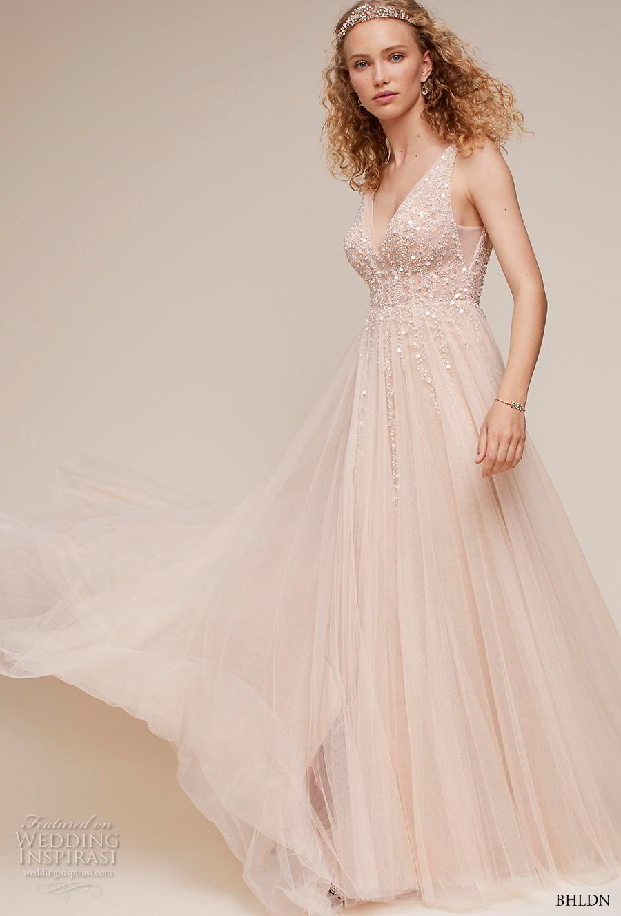 bhldn 2018 own bridal sleeveless v neck heavily embellished bodice tulle skirt glitzy romantic blush soft a  line wedding dress backless scoop back chapel train (6) mv