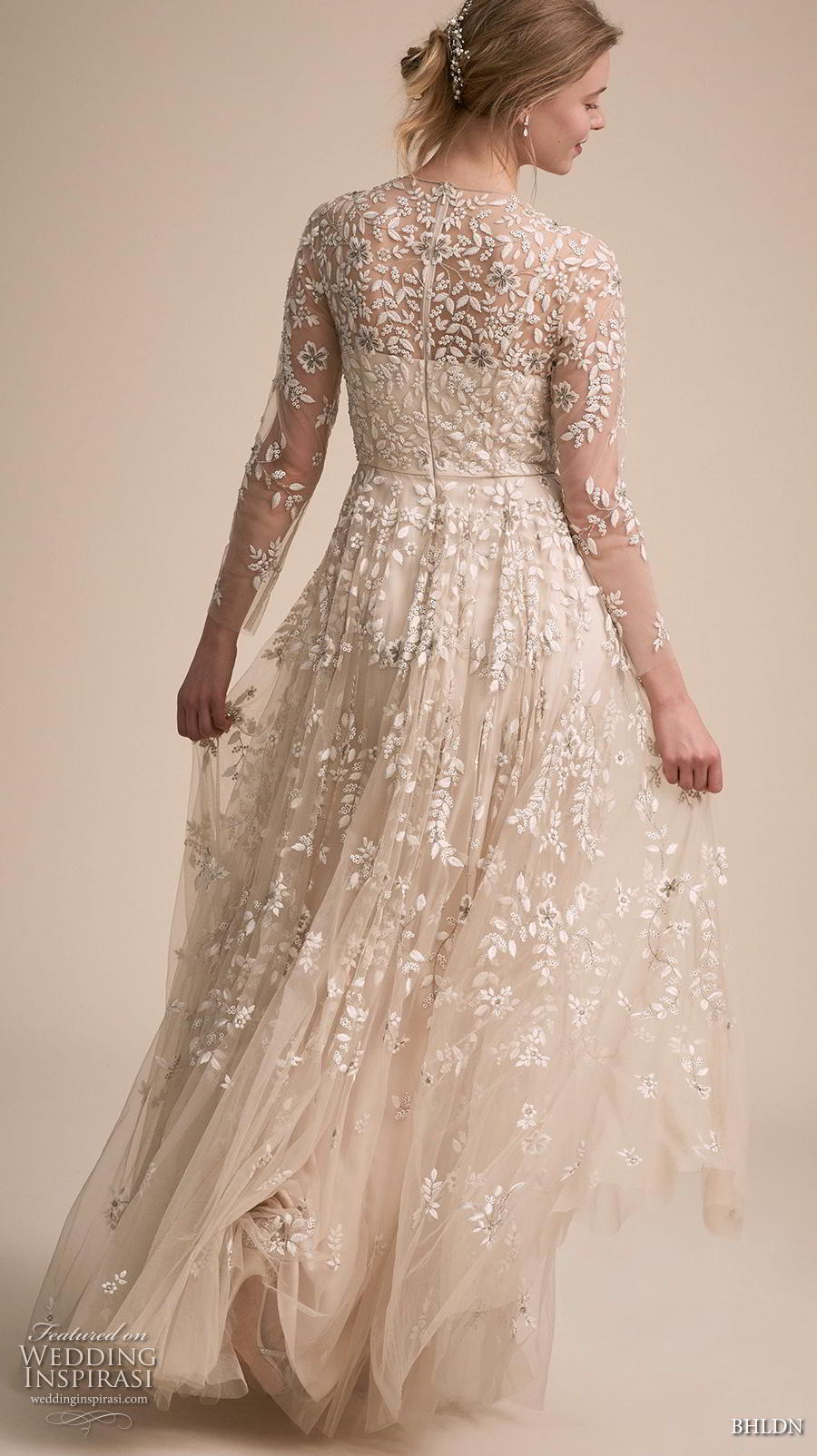 bhldn 2018 own bridal three quarter sleeves illusion jewel neck full embellishment romantic a  line wedding dress full lace back sweep train (1) bv