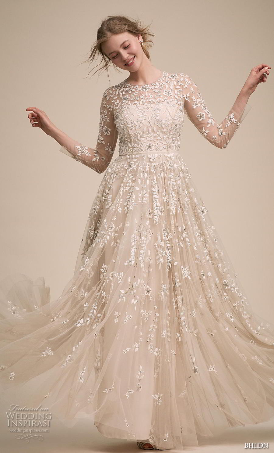 bhldn 2018 own bridal three quarter sleeves illusion jewel neck full embellishment romantic a  line wedding dress full lace back sweep train (1) mv
