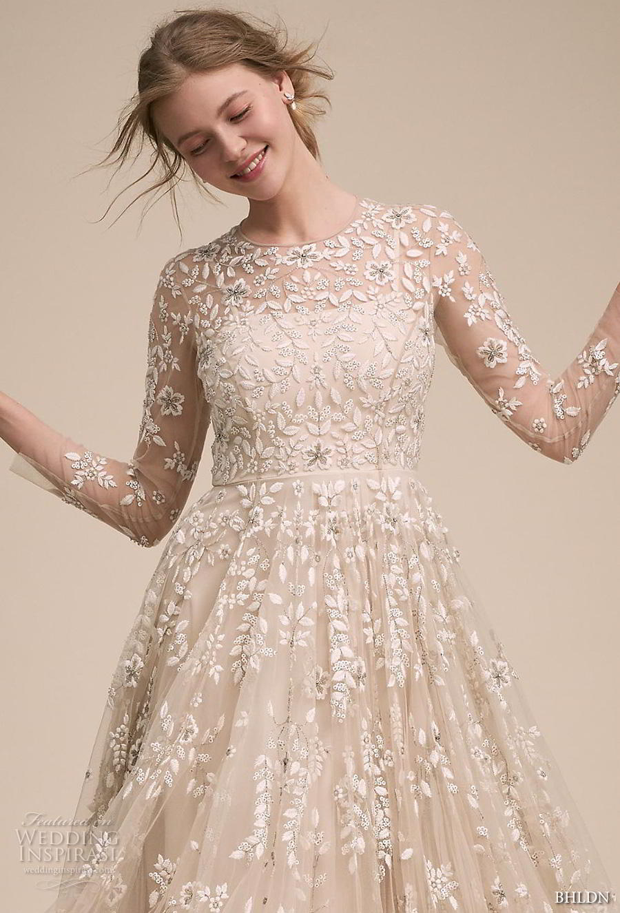 bhldn 2018 own bridal three quarter sleeves illusion jewel neck full embellishment romantic a  line wedding dress full lace back sweep train (1) zv