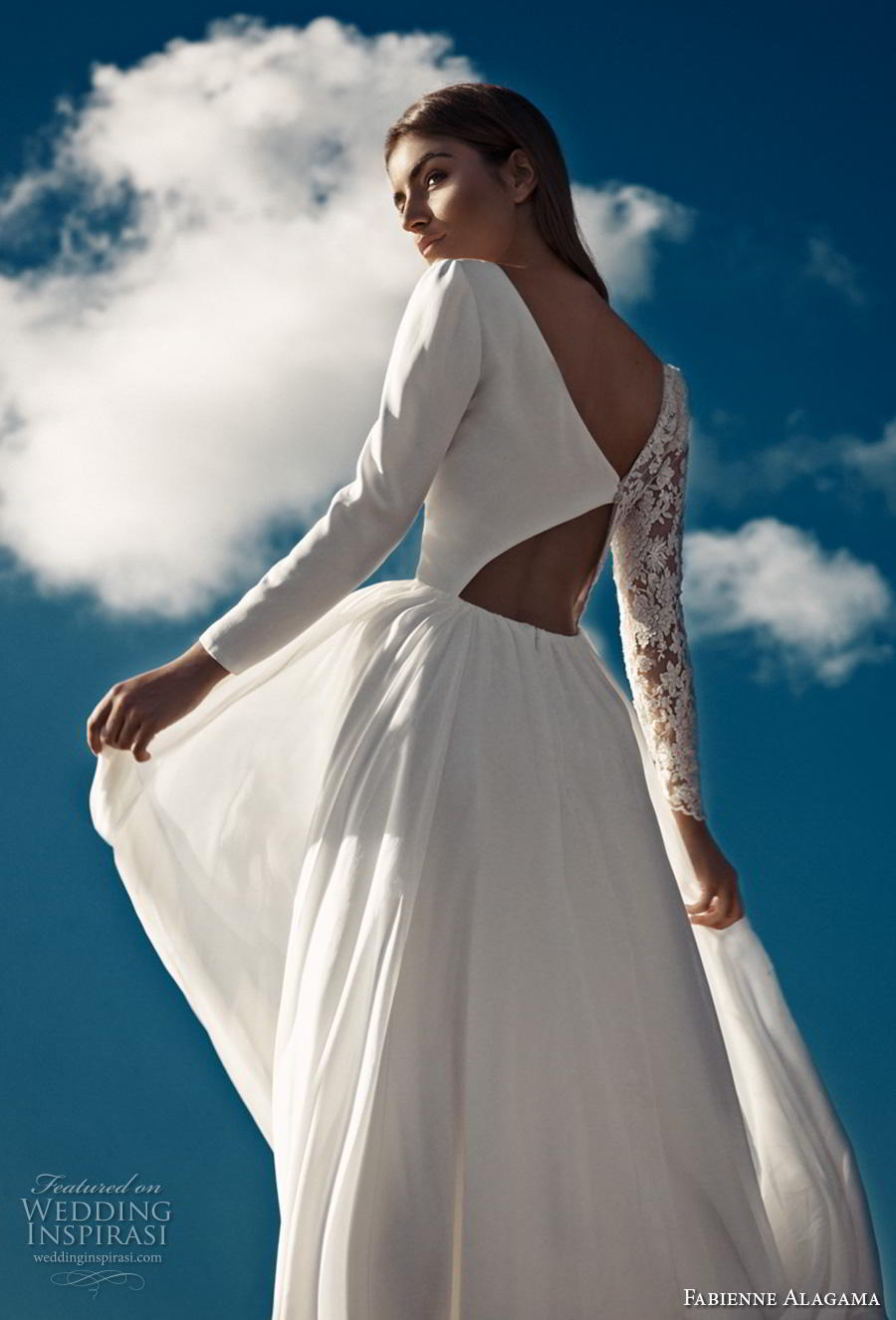 fabienne alagama 2019 bridal asymmetrical sleeves modern soft a  line wedding dress (9) zbv