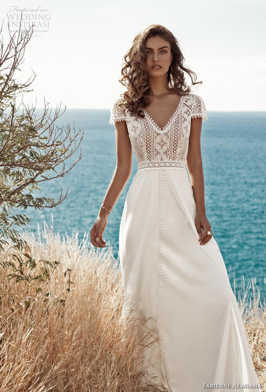 fabienne alagama 2019 bridal cap sleeves v neck heavily embellished bodice boho a  line wedding dress backless v back (6) mv