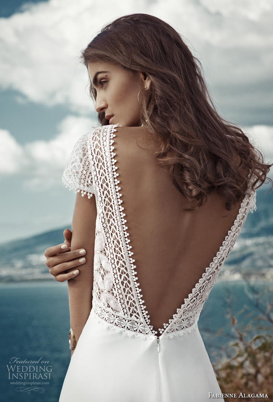 fabienne alagama 2019 bridal cap sleeves v neck heavily embellished bodice boho a  line wedding dress backless v back (6) zbv