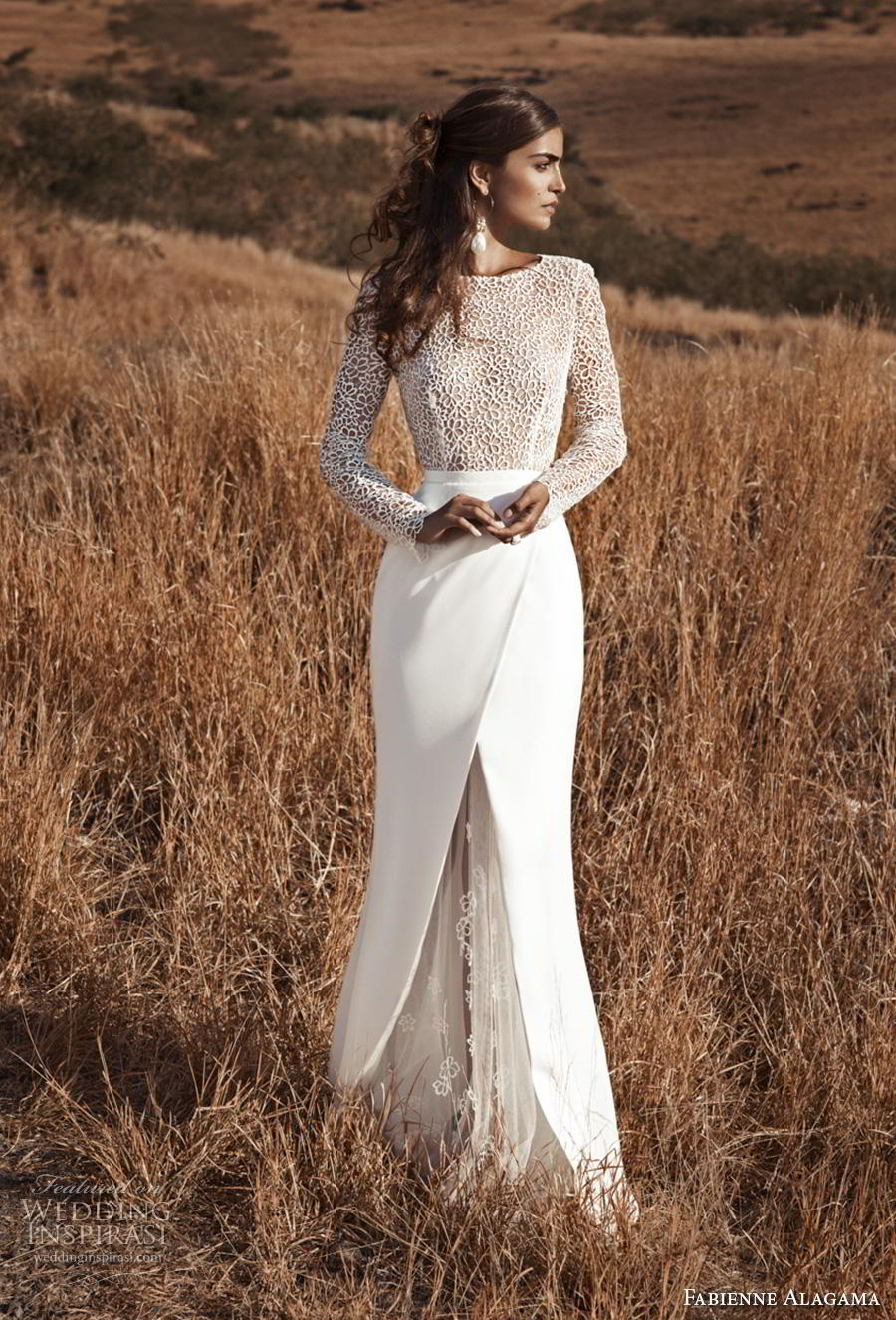 fabienne alagama 2019 bridal long sleeves bateau neck heavily embellished bodice slit skirt modern elegant sheath wedding dress keyhole back (3) mv