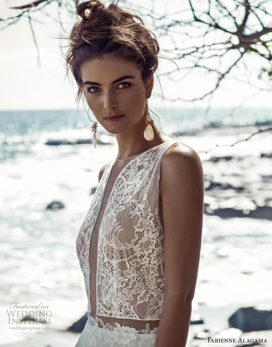 fabienne alagama 2019 bridal sleeveless jewel neck heavily embellished bodice modern soft a  line wedding dress keyhole back (5) zv