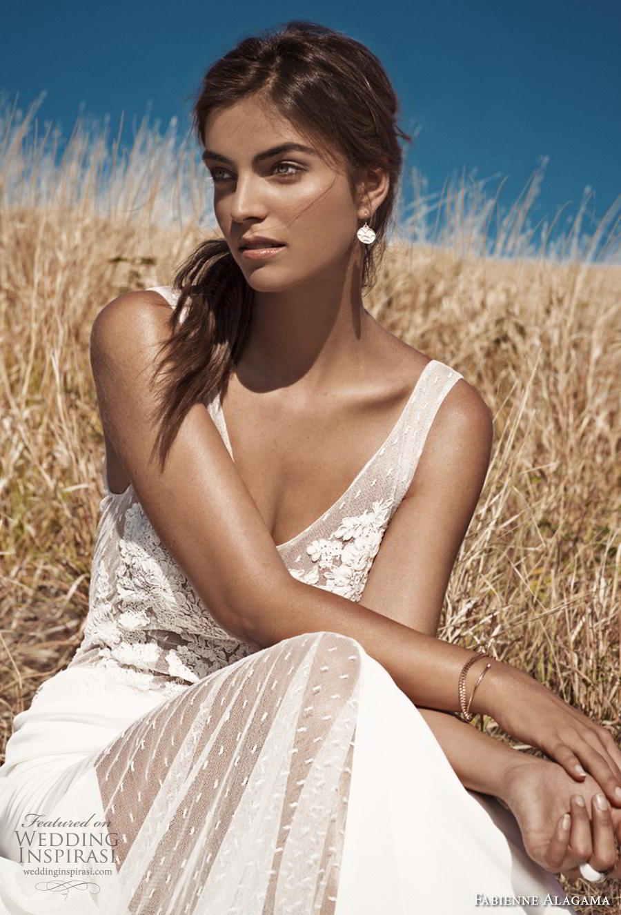 fabienne alagama 2019 bridal sleeveless v neck heavily embellished bodice romantic a  line weddng dress backless v back (4) zv