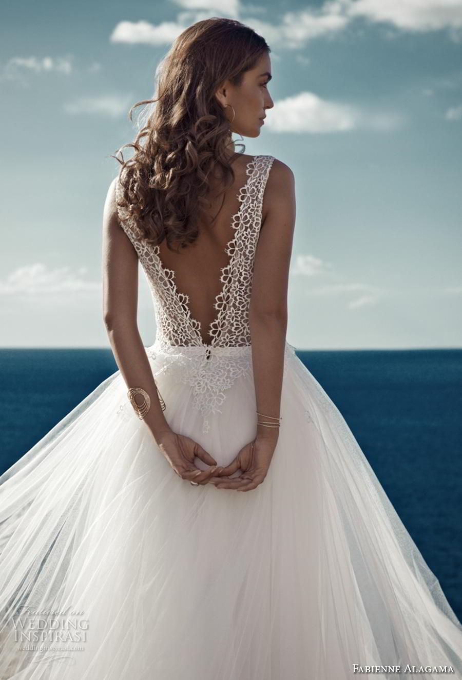 fabienne alagama 2019 bridal sleeveless v neck heavily embellished bodice romantic soft a  line wedding dress backless v back chapel train (1) bv