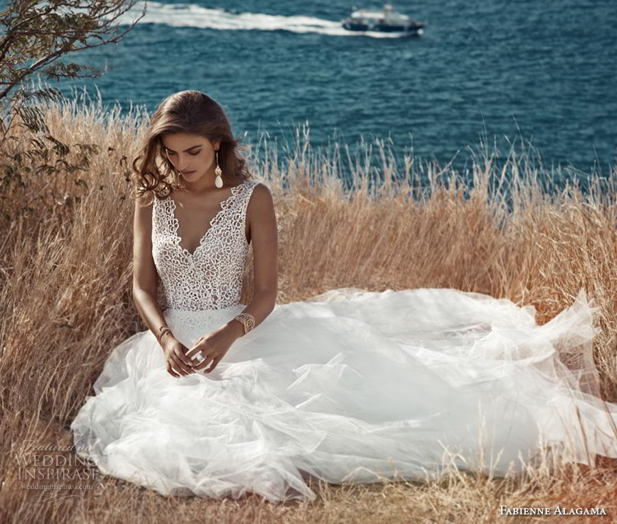 fabienne alagama 2019 bridal sleeveless v neck heavily embellished bodice romantic soft a  line wedding dress backless v back chapel train (1) mv