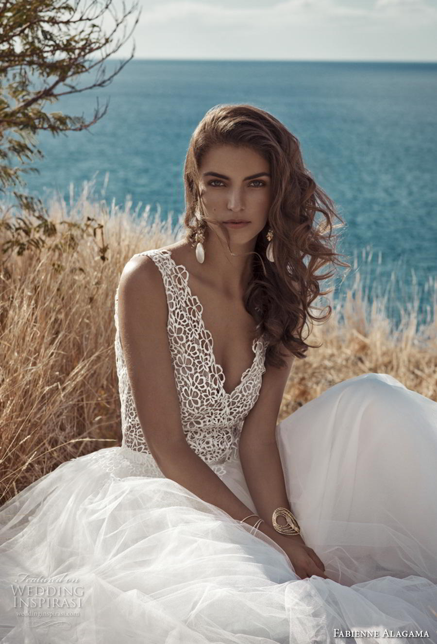 fabienne alagama 2019 bridal sleeveless v neck heavily embellished bodice romantic soft a  line wedding dress backless v back chapel train (1) zv