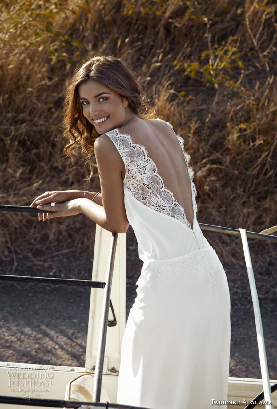 fabienne alagama 2019 bridal sleeveless with strap scallop v neck simple vintage minimalist column wedding dress backless v back (8) bv