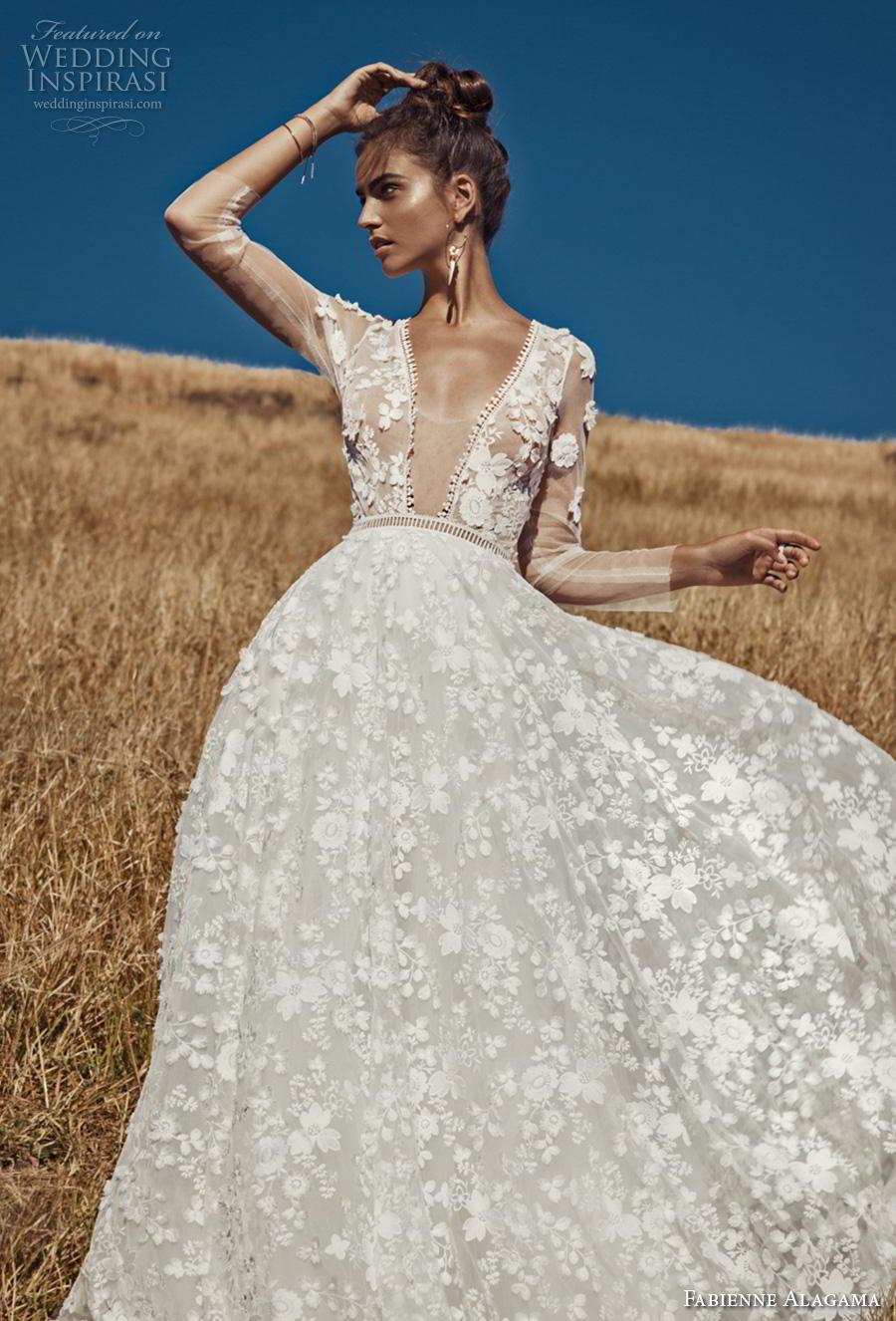 fabienne alagama 2019 bridal three quarter sleeves illusion v neck full embellishment romantic a  line wedding dress keyhole back (2) mv