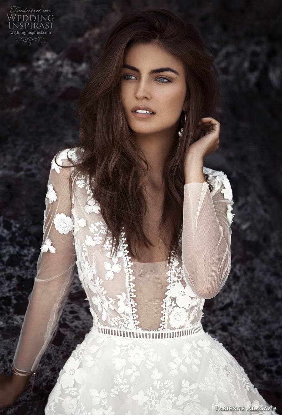 fabienne alagama 2019 bridal three quarter sleeves illusion v neck full embellishment romantic a  line wedding dress keyhole back (2) zv