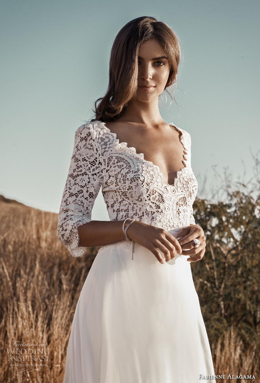 fabienne alagama 2019 bridal three quarter sleeves scallop v neck heavily embellished bodice romantic a  line wedding dress (7) mv