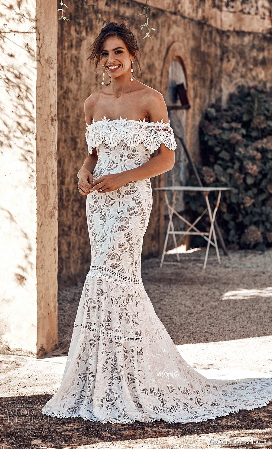grace love lace 2018 bridal off the shoulders straight across necklne full embellishment elegant mermaid wedding dress chapel train (1) mv