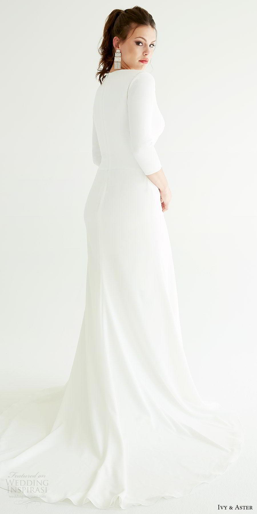 ivy aster bridal 2019 3 quarter sleeve deep v neck minimal sheath wedding dress (graham) bv sweep train elegant clean modern