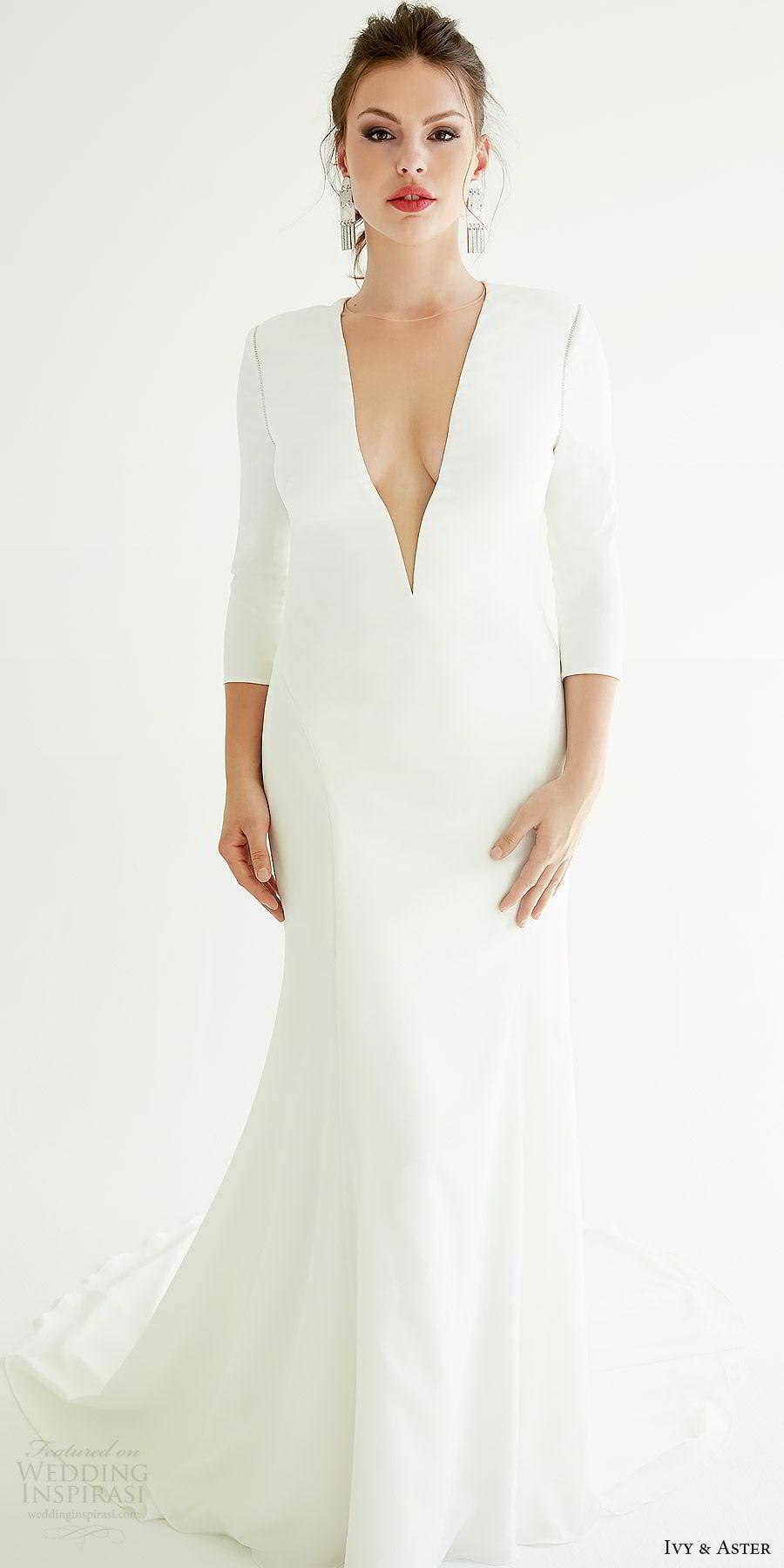 ivy aster bridal 2019 3 quarter sleeve deep v neck minimal sheath wedding dress (graham) mv sweep train elegant clean modern