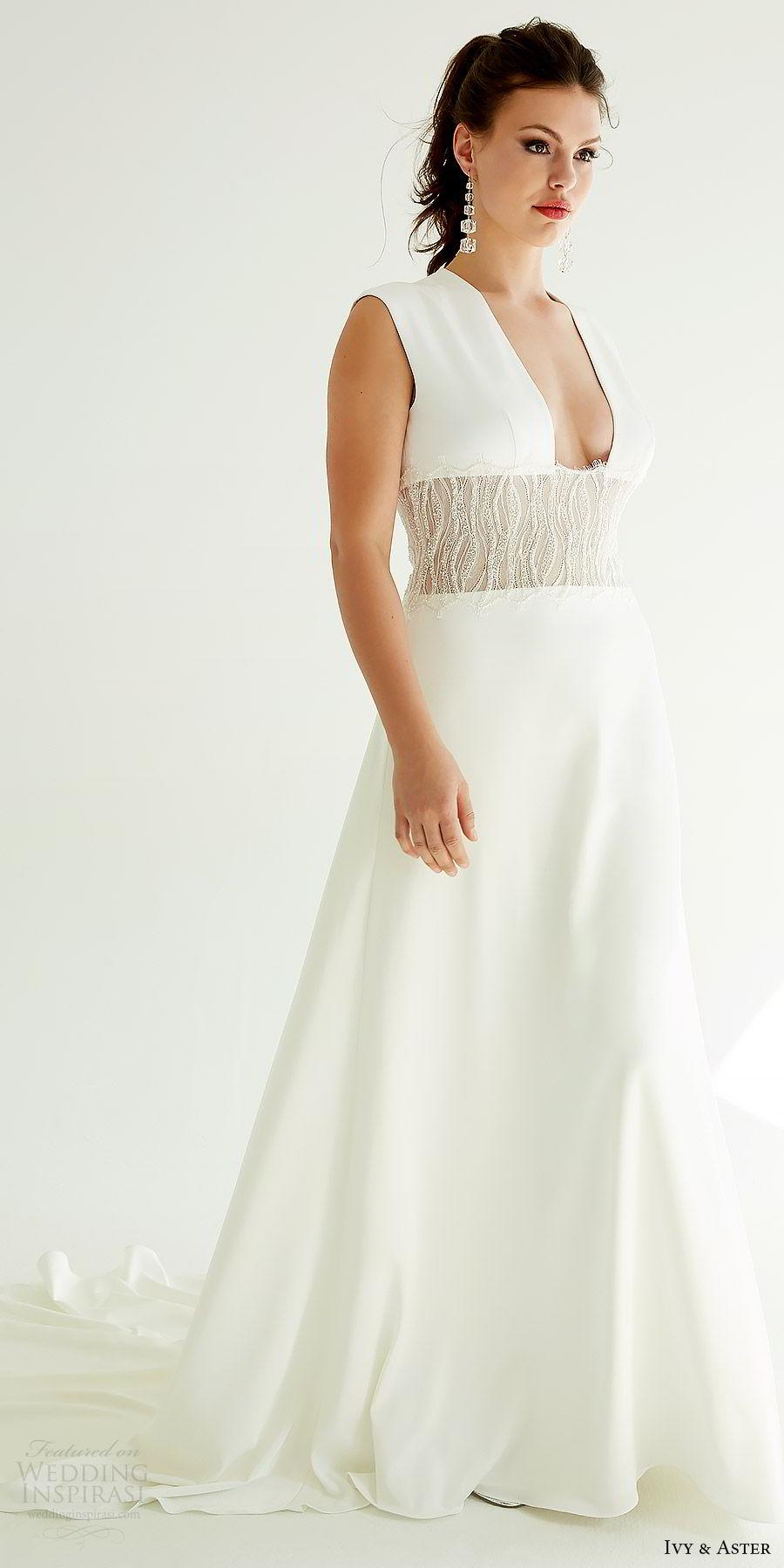 ivy aster bridal 2019 sleeveless deep plunging squeare v neck beaded waist a line skirt wedding dress (mila) mv elegant modern