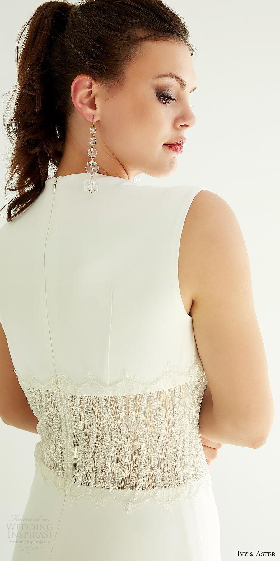 ivy aster bridal 2019 sleeveless deep plunging squeare v neck beaded waist a line skirt wedding dress (mila) zbv elegant modern