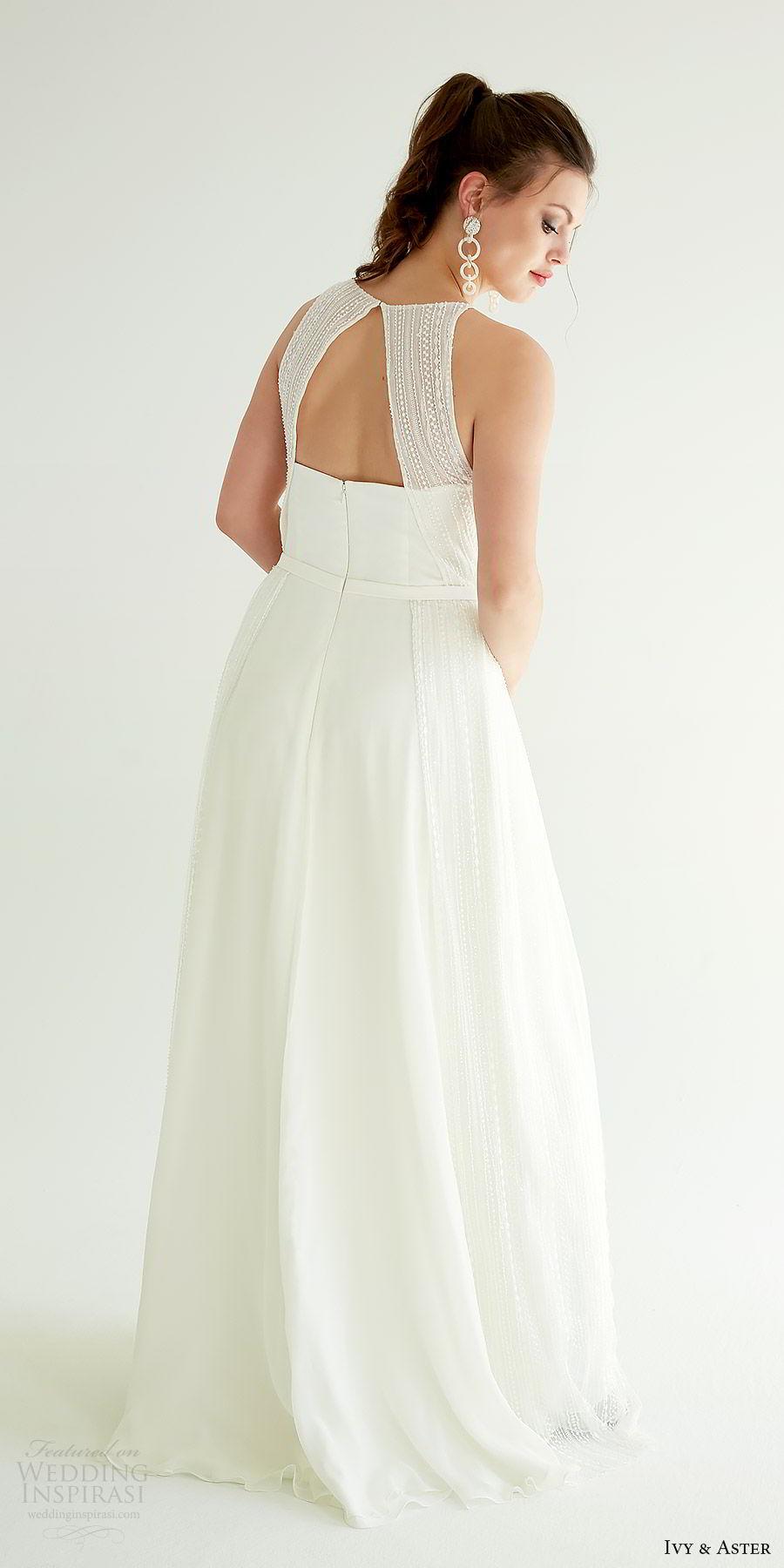 ivy aster bridal 2019 sleeveless jewel neck bib slit skirt minimal a line wedding dress (sophia) bv cutout back modern chic