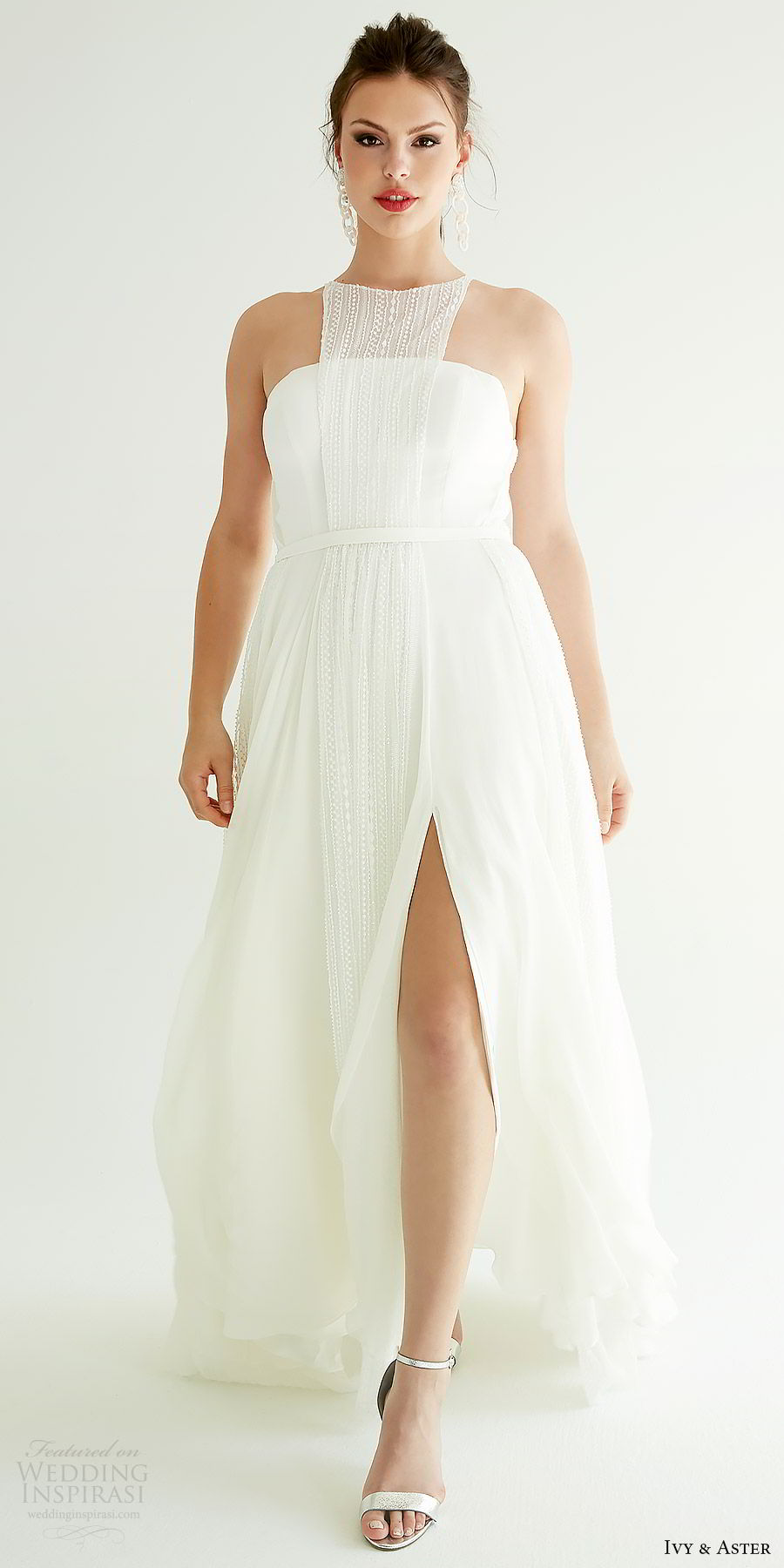 ivy aster bridal 2019 sleeveless jewel neck bib slit skirt minimal a line wedding dress (sophia) mv cutout back modern chic