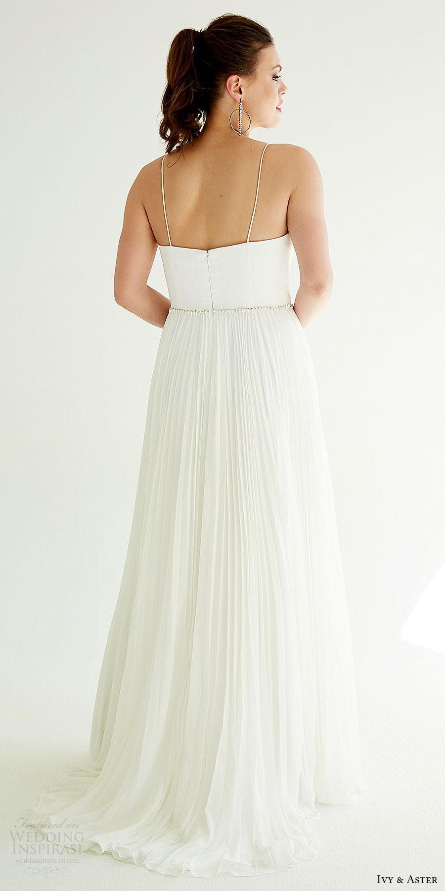 ivy aster bridal 2019 sleeveless spaghetti straps deep v neck clean bodice pleated a line skirt wedding dress (dakota) bv sweep train minimal modern