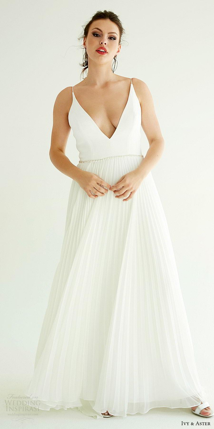 ivy aster bridal 2019 sleeveless spaghetti straps deep v neck clean bodice pleated a line skirt wedding dress (dakota) mv minimal modern