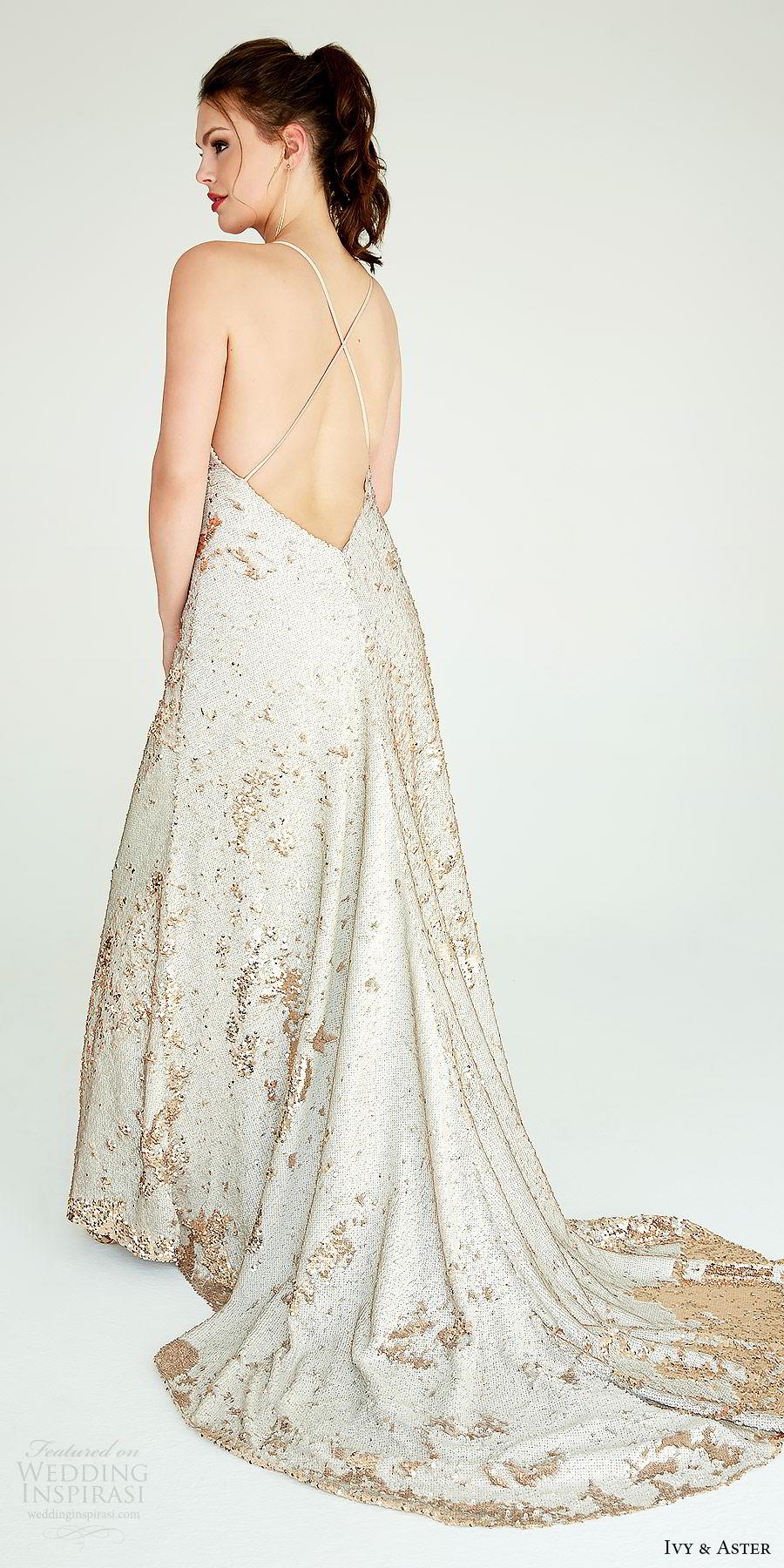 ivy aster bridal 2019 sleeveless spaghetti straps v neck fully embellished a line sheath wedding dress (zoe) bv low back chapel train modern chic