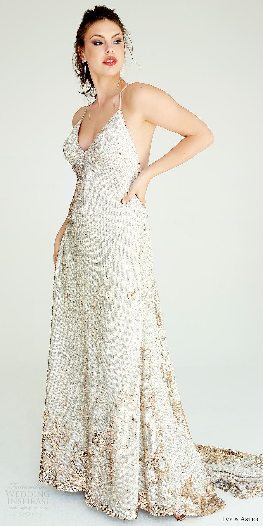 ivy aster bridal 2019 sleeveless spaghetti straps v neck fully embellished a line sheath wedding dress (zoe) mv modern chic