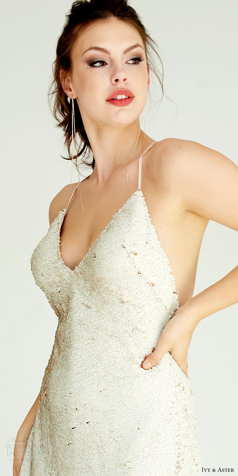 ivy aster bridal 2019 sleeveless spaghetti straps v neck fully embellished a line sheath wedding dress (zoe) zv modern chic