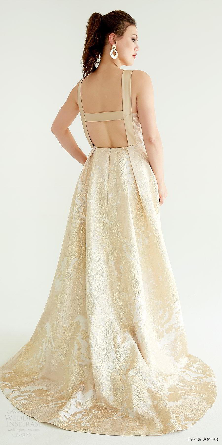 ivy aster bridal 2019 sleeveless straps jewel neck lace a line ball gown skirt wedding dress (delevigne) bv sweep train elegant gold color pockets