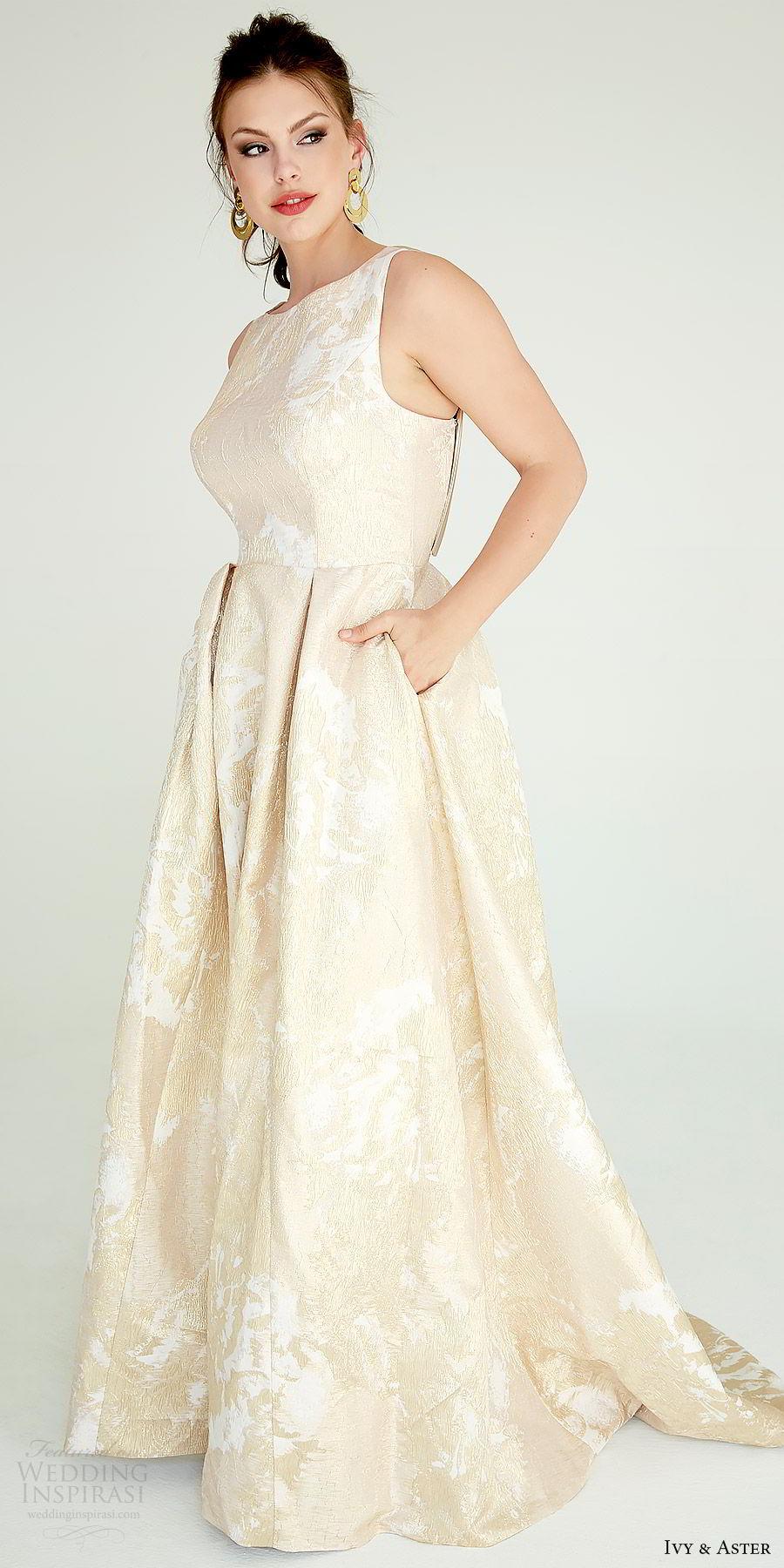 ivy aster bridal 2019 sleeveless straps jewel neck lace a line ball gown skirt wedding dress (delevigne) mv elegant gold color pockets