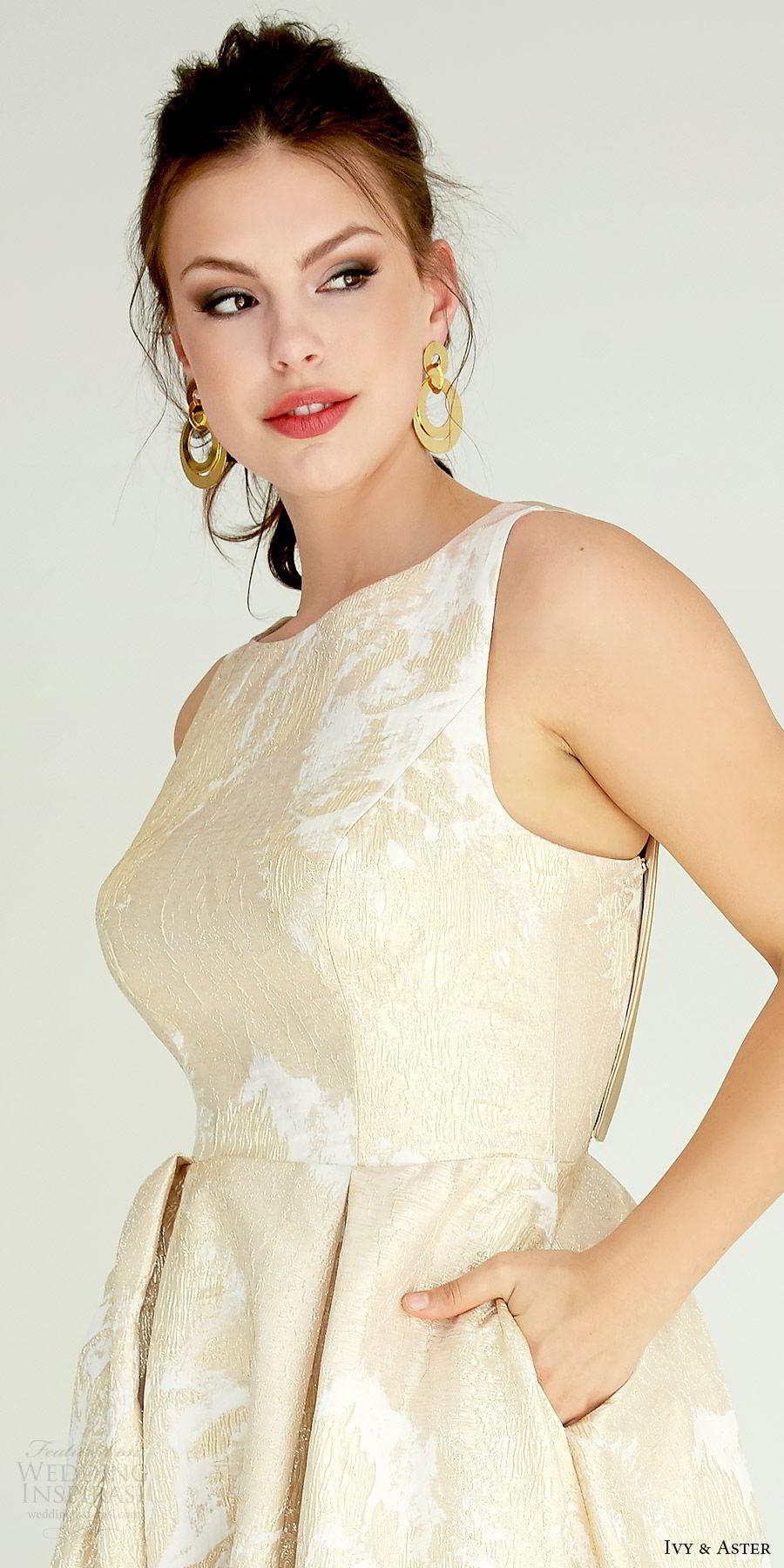ivy aster bridal 2019 sleeveless straps jewel neck lace a line ball gown skirt wedding dress (delevigne) zv elegant gold color pockets