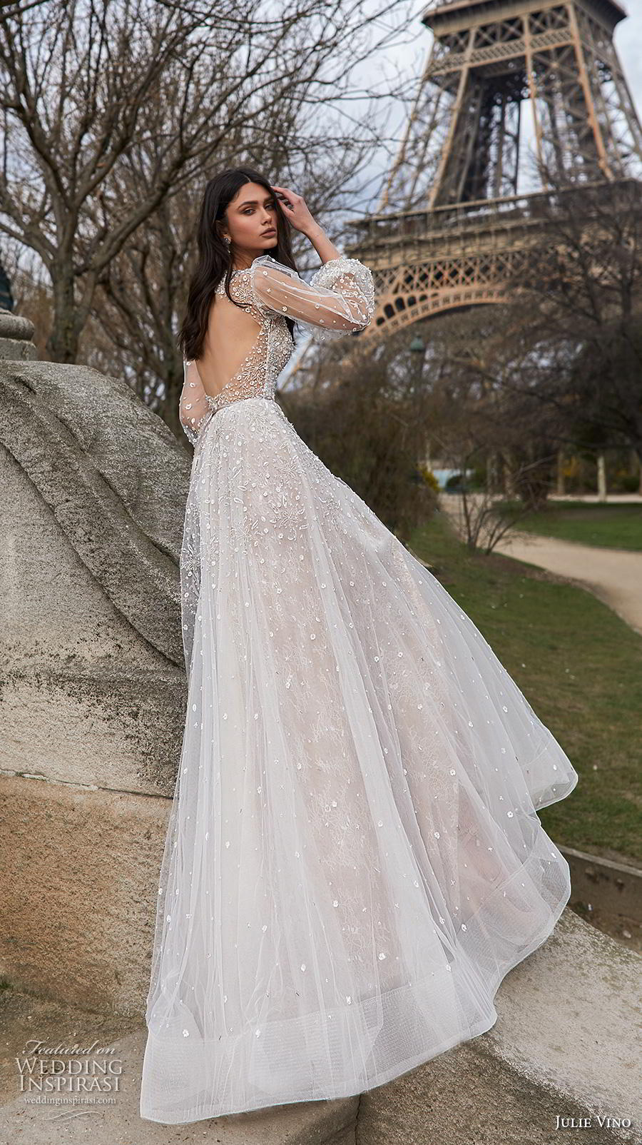 julie vino 2019 paris bridal long bishop sleeves deep v neck heavily embellished bodice romantic a  line wedding dress keyhole back chapel train (5) bv