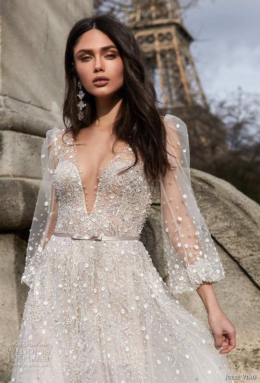 julie vino 2019 paris bridal long bishop sleeves deep v neck heavily embellished bodice romantic a  line wedding dress keyhole back chapel train (5) zv