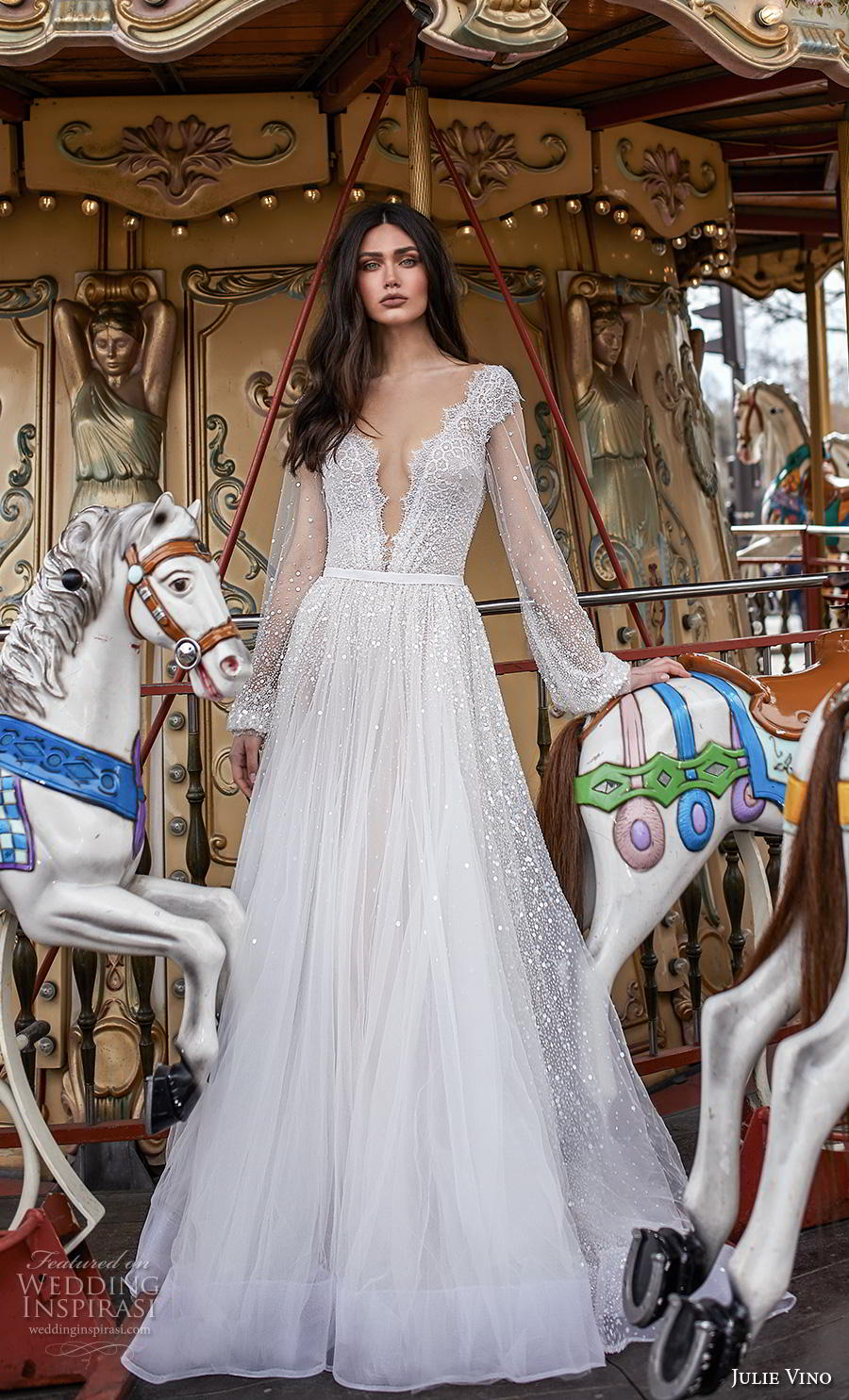 julie vino 2019 paris bridal long bishop sleeves deep v neck heavily embellished bodice romantic a  line wedding dress v back chapel train (12) mv