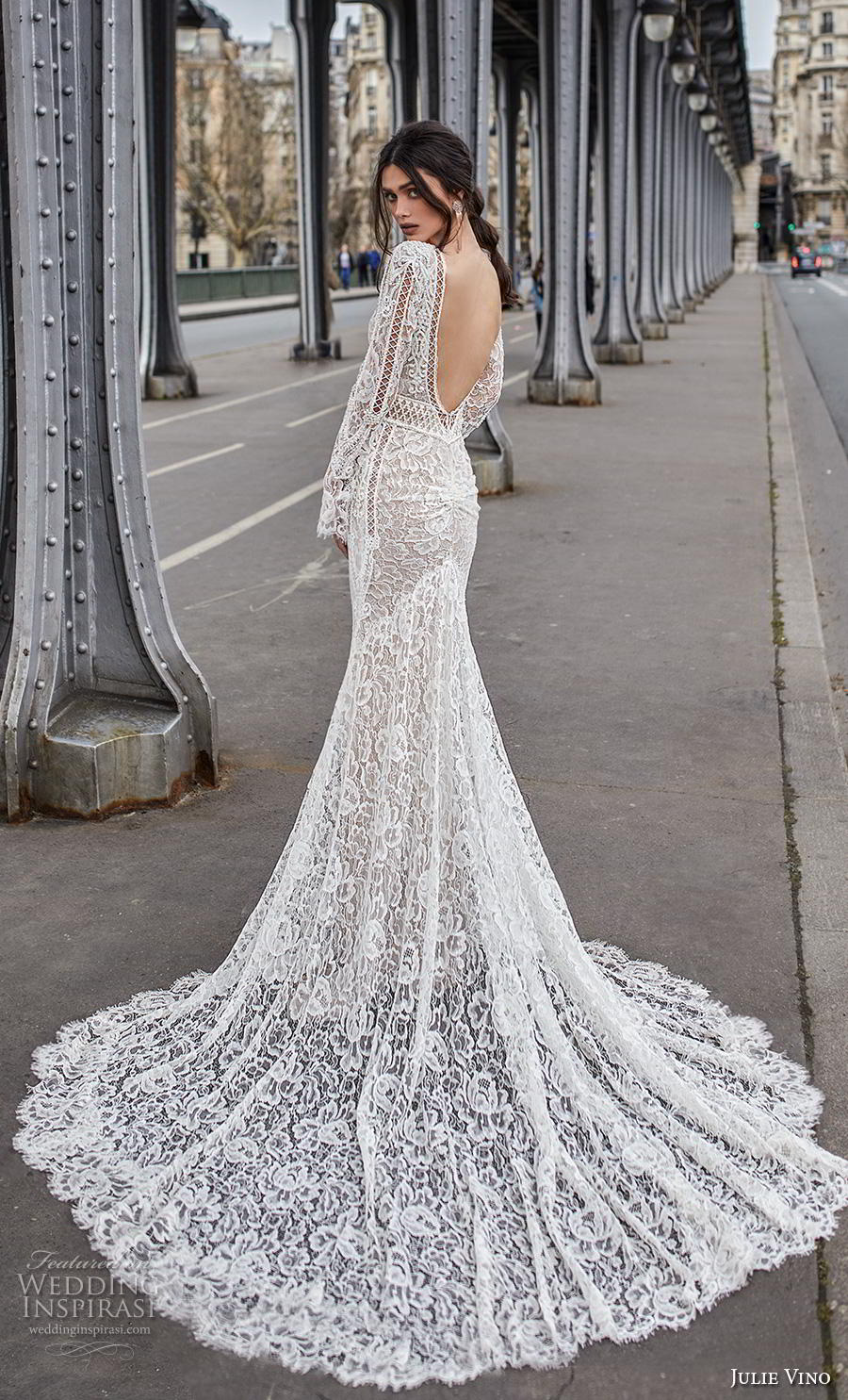julie vino 2019 paris bridal long sleeves deep v neck full embellishment sexy elegant sheath fit and flare wedding dress backless v back chapel train (14) bv
