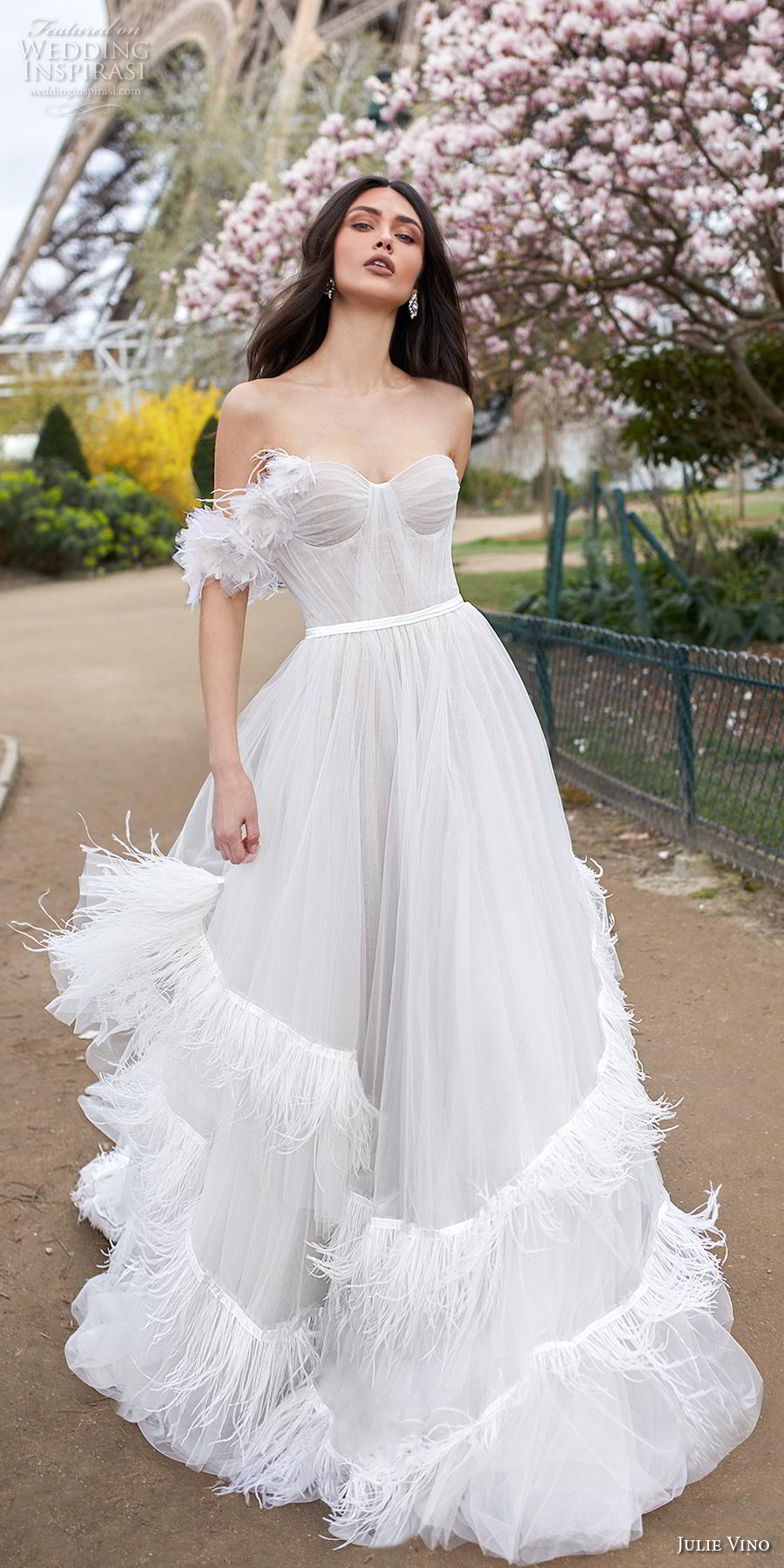 julie vino 2019 paris bridal off the shoulder strapless sweetheart neckline pleated ruched bodice romantic a  line wedding dress backless chapel train (3) lv