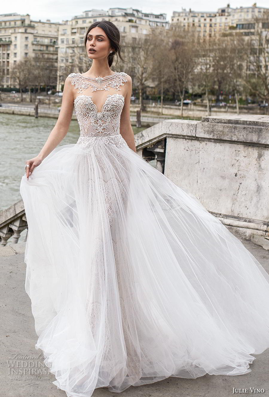 julie vino 2019 paris bridal sleeveless bateau sweetheart neckline heavily embellished bodice glamorous romantic fit and flare wedding dress a  line overskirt keyhole back chapel train (9) mv